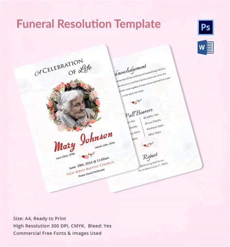 funeral resolution template funeral resolution template 5 word psd format