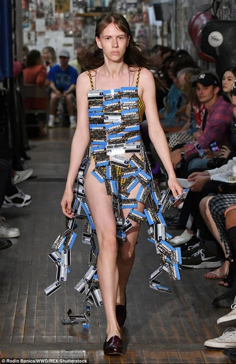 Fashion News Weekly Up Bag Bliss 14 by Nyfw Model Walks The Runway Holding Garbage Daily Mail