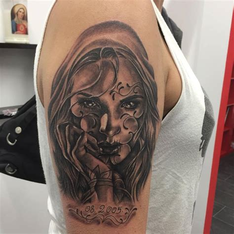 dia delos muertos tattoos realistic dia de los muertos on right sleeve