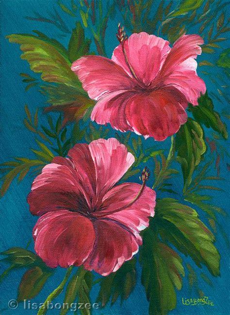 hawaiian flower painting pink hibiscus original painting 12x9 artwork