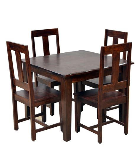 4 Chair Dining Table Price Arizona Walnut Dining Set Table 4 Chairs Buy At Best Price In India On Snapdeal