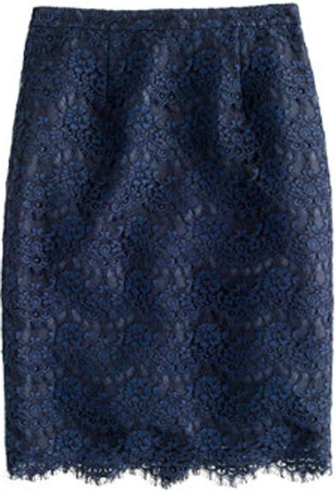 j crew collection pencil skirt in scalloped lace in blue