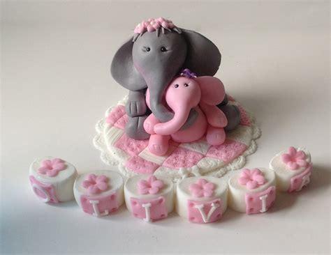 fondant elephant safari baby shower cake topper by - Baby Shower Elephant Cake Topper