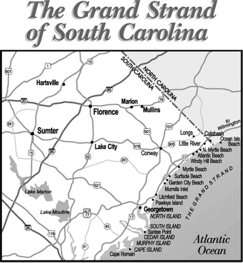 grand map of south grand strand sc vacations guide to south carolina grand