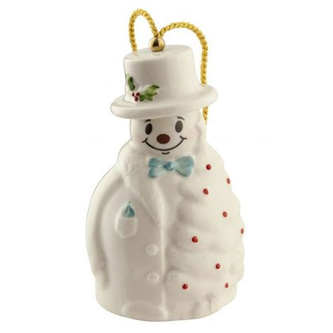 snowman with fir tree christmas ornament by belleek