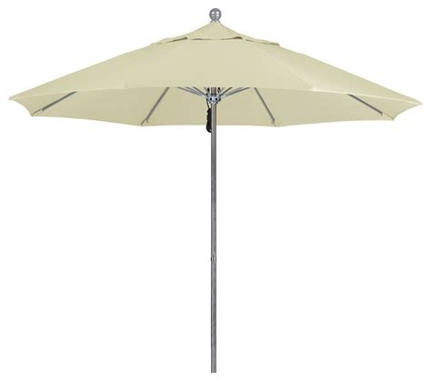 Outdoor Patio Umbrellas Sunbrella 9 Foot Sunbrella Fabric Aluminum Pulley Lift Patio Market Umbrella Silver Pole Contemporary
