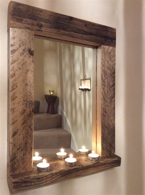 Handmade Wooden Mirrors - wooden wood mirror with shelf handmade reclaimed wood