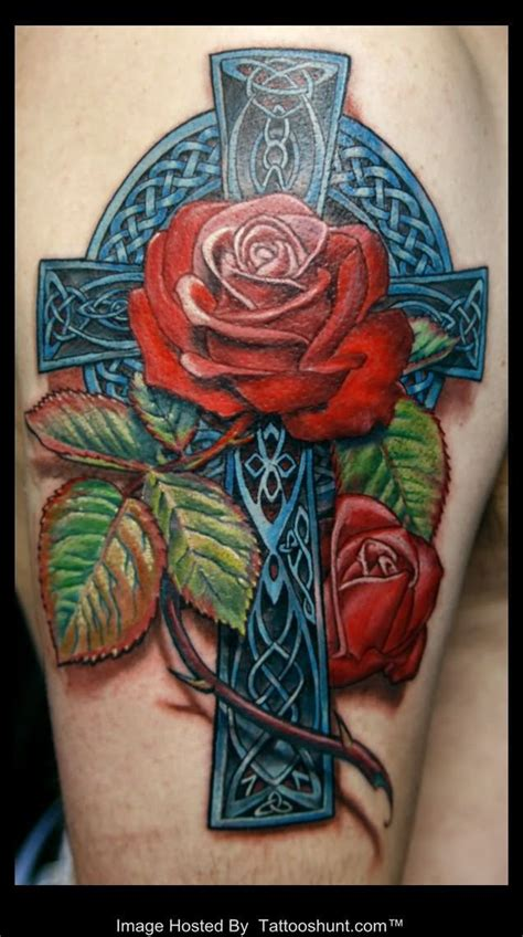 celtic rose tattoos 3d celtic cross and roses on half sleeve