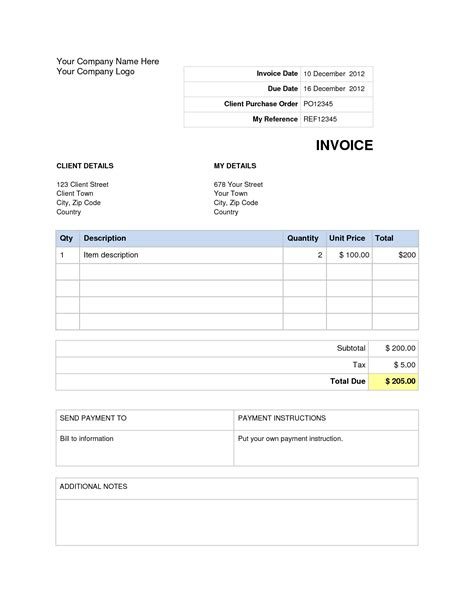 Download Invoice Template Word 2007 Invoice Exle Invoice Template Word Free