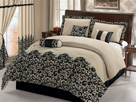 7pcs queen black and beige scroll embroidered comforter set