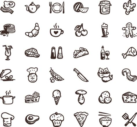 doodle draw icon pack tasty icons free 36 free food icons