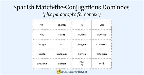verb pattern dominoes spanish verb games conjugation dominoes spanish playground