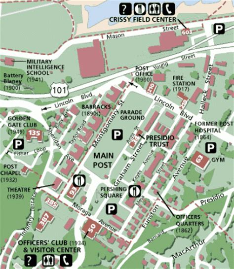 san francisco map presidio at golden gate national recreation area the presidio