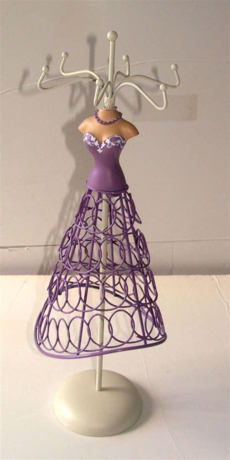 party dress design jewellery holder metal dress form purple designer jewelry stand lilac