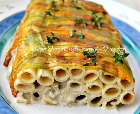sformato di fiori di zucca pasta fiori di zucca e alici sformato di pasta