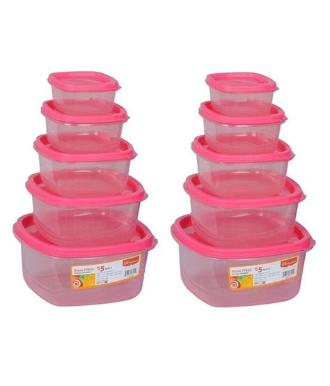 princeware set of 5 pink food storage container pack buy - Pink Food Storage Containers