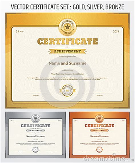 wordpress themes gold silver bronze certificate of achievement template in vector in gold