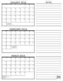 Month Calendar Template by 3 Month Calendar 2016
