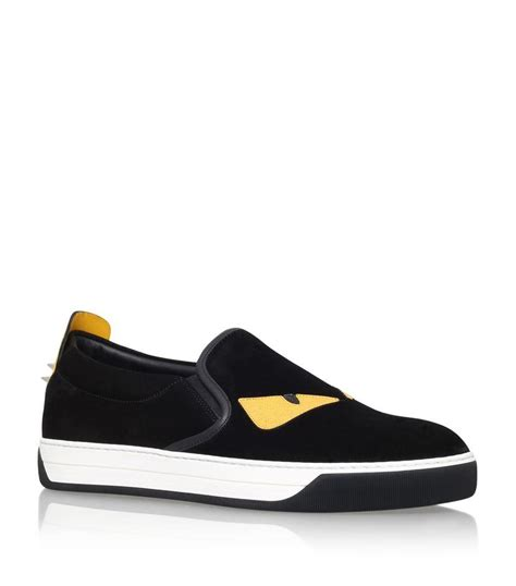 yellow box house shoes fendi monster eyes suede skate shoe in yellow for men lyst