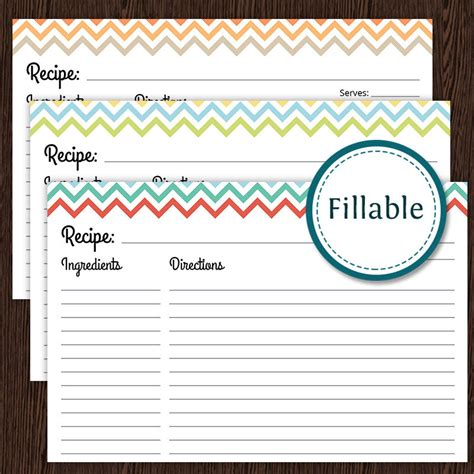fillable recipe card template recipe card colourful chevron fillable 4x6 recipe card