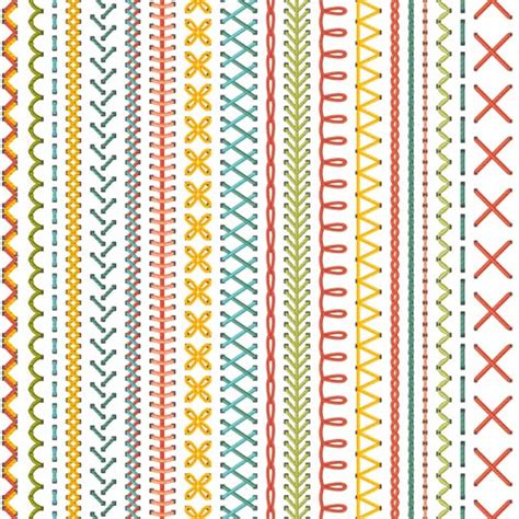sewing borders design elements vector sewing colored border seamless vector 02 free vector