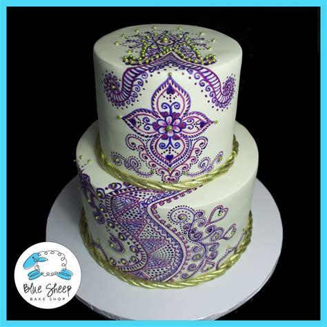 henna design wedding cake painted henna wedding cake blue sheep bake shop