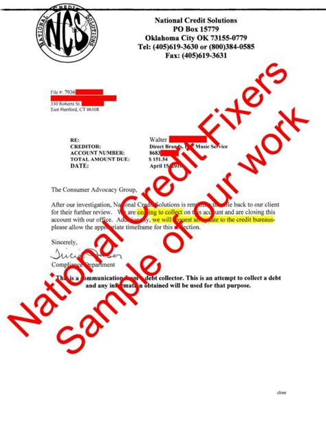 What Is A Credit Deletion Letter National Credit Solutions Deletion Second Letter