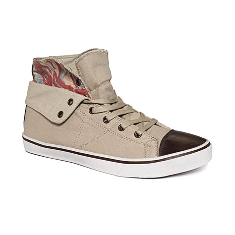 guess the sneakers guess mens shoes mat hitop sneakers in beige for sand