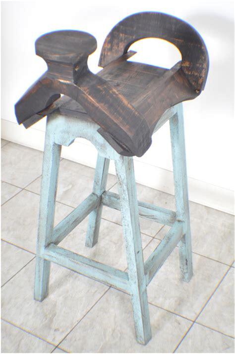 Distressed Saddle Bar Stools by Pair Of 2 Aqua Distressed Saddle Bar Stools Ebay