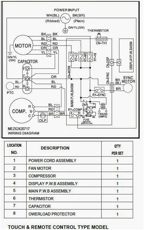 wiring diagram of window type air conditioner electrical