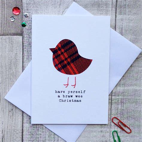 Handmade Cards Scotland - tartan robin scottish card tartan