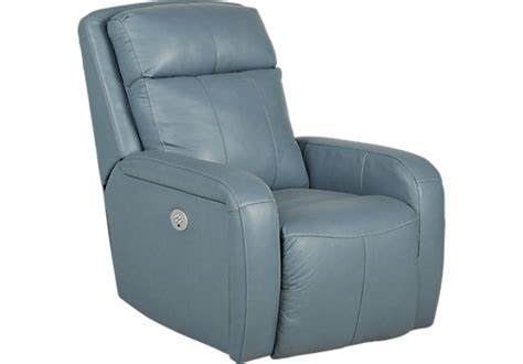 Blue Leather Recliner Chair Taranto Blue Leather Power Recliner Reclining