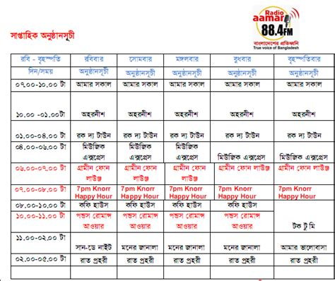 radio station schedule template radio aamar 88 4 fm program schedule bd show time