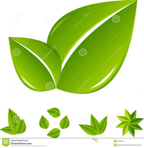 imagenes de hojas verdes conjunto de la hoja verde abstracta fotos de archivo