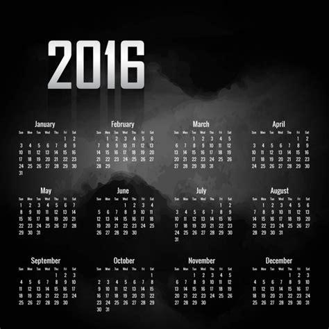 Calendario Negro Calendario Negro De 2016 Descargar Vectores Gratis