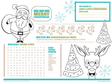 printable christmas table games love this free printable christmas activity placemats for