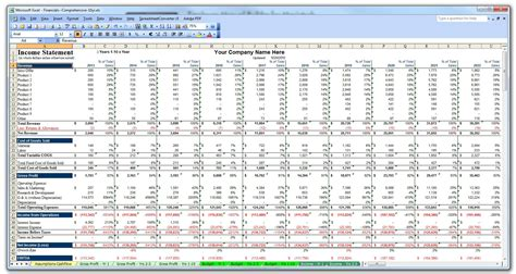 year business plan financial budget projection model