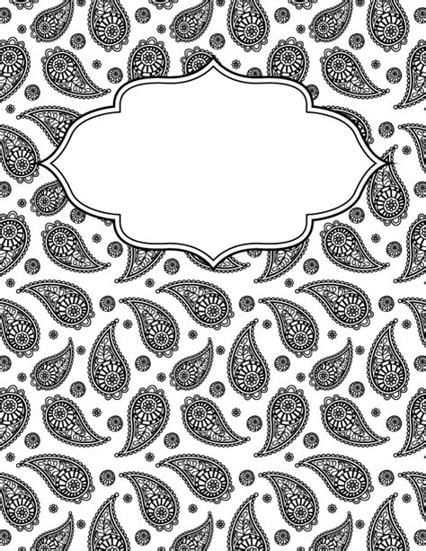 black and white binder cover templates free printable black and white paisley binder cover