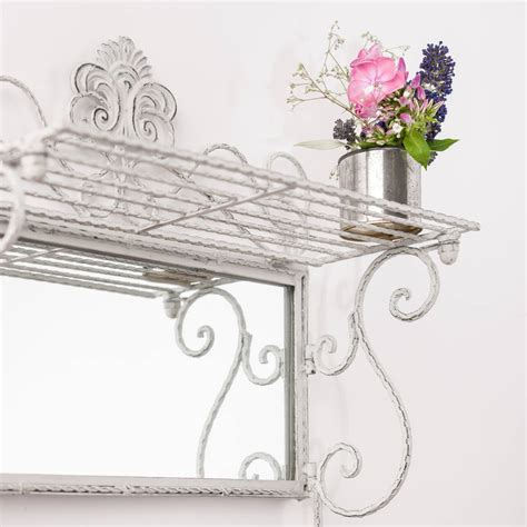 Shelf With Mirror And Hooks by Metal White Grey Shelf Mirror With Hooks By Crafted