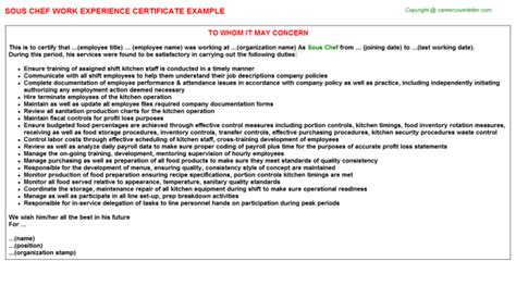 Experience Letter As A Cook Chef Work Experience Certificates