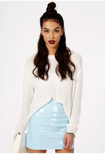 missguided nagsia pvc mini skirt in baby blue