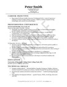Quality Supervisor Resume by Quality Assurance Resume Exle Resume Exles Search And Sle Resume Cover Letter