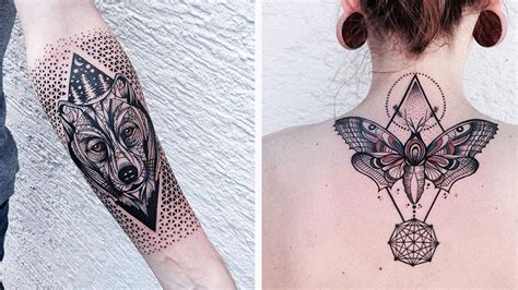 geometric tattoo animal color you ll love these geometric animal tattoos so bad so good