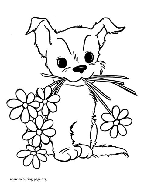 cute coloring pages for mother s day mother s day cute puppy with flowers coloring page