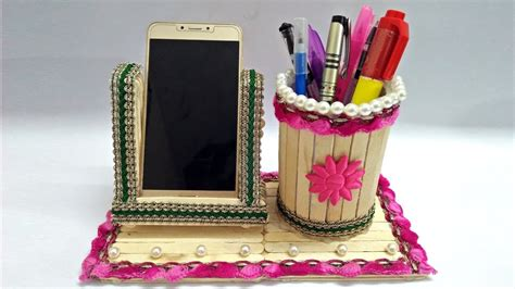 Handmade Things With Sticks - diy how to make pen stand and mobile holder with