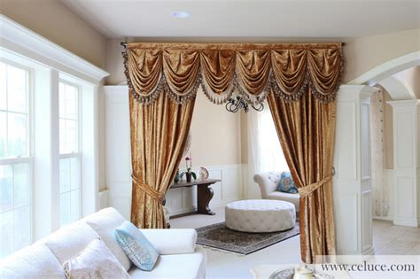 Victorian Screens Room Dividers - gold velvet pleated austrian style swag valance curtains