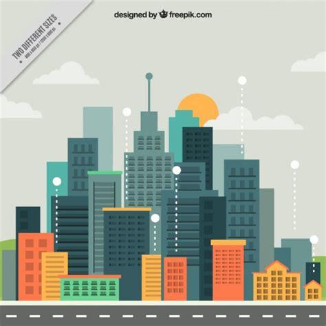 modern city modern city in flat design background vector free