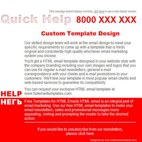 quick help free html e mail templates