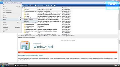 email windows backup and restore email in windows mail of windows vista