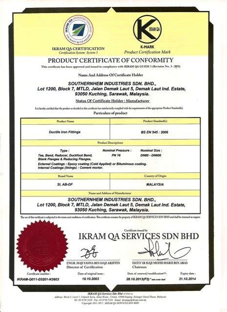 Pipa Niso Pipa Conduit 20mm Dapat Di Bending Panjang 2 9m product certificates southernhem industries sdn bhd